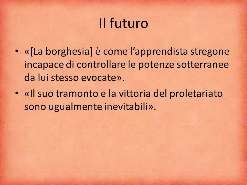Il futuro «[La borghesia] è come l'apprendista stregone incapace di controllare le potenze sotterranee da lui stesso evocate».